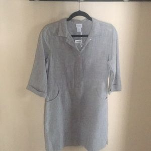 Kenar sz small lt grey linen dress w/ pockets.
